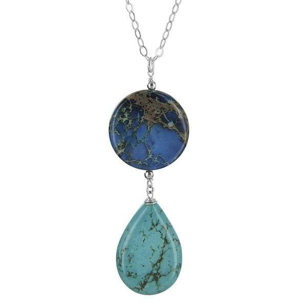 Ocean Jasper and Turquoise Gemstone Sterling Silver Handmade Designer Large Pendant Necklace - Necklaces