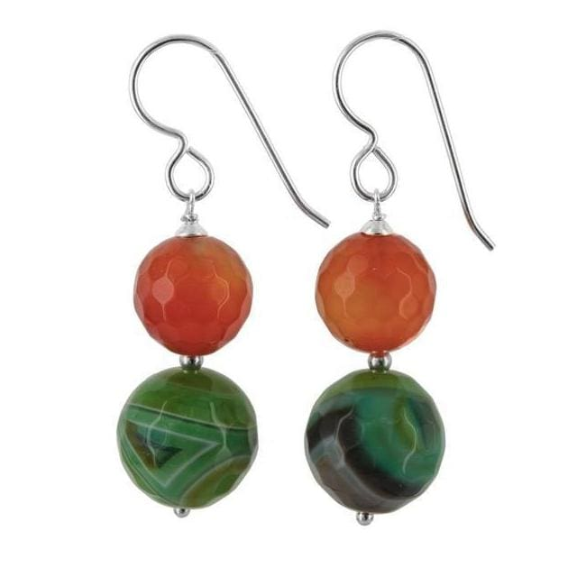 Orange Agate and Green Onyx Sterling Silver Handcrafted Colorful Earrings - Earrings