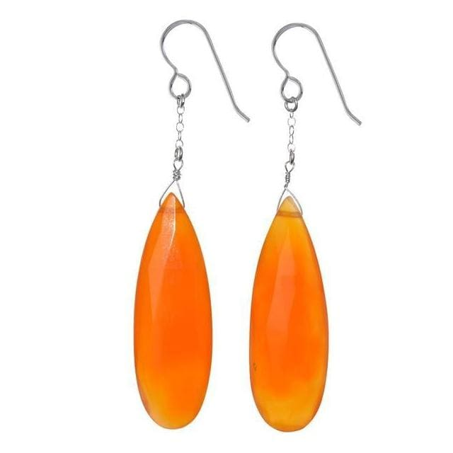 Orange Agate Briolette Natural Gemstone 925 Sterling Silver Handmade Earrings - Earrings