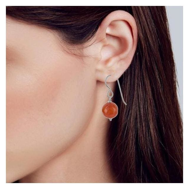 Orange Agate Sterling Silver Handcrafted Earrings - Earrings