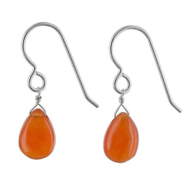 Orange Carnelian Gemstone Sterling Silver HandmadeEarrings - Earrings