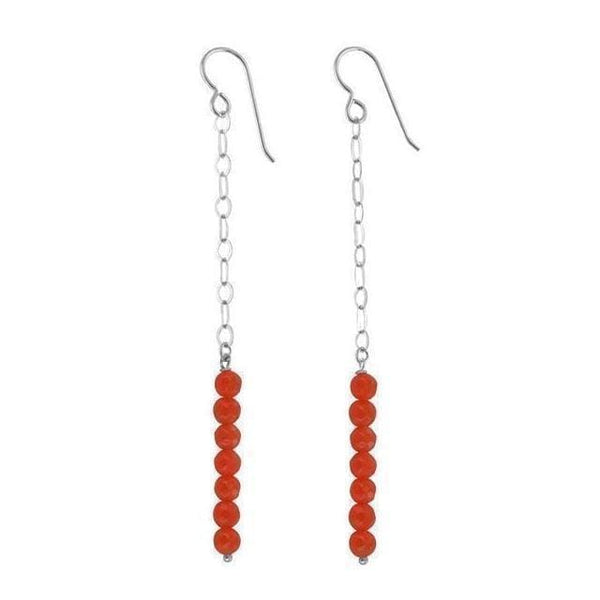 Orange Jade Quartz Gemstone Sterling Silver Long Dangle Earrings - Earrings