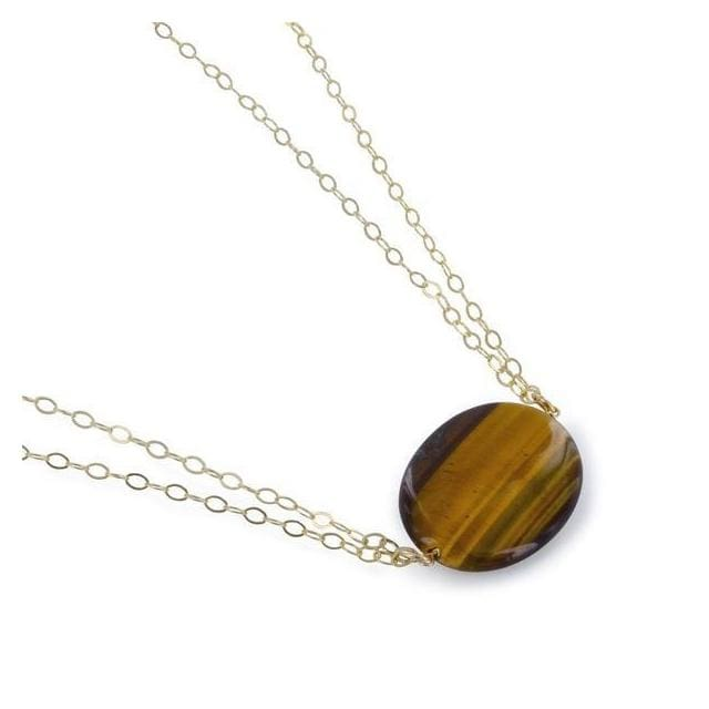 ASHANTI Tigers Eye Natural Gemstone 14K Gold-Filled Handcrafted 18 inch Necklace