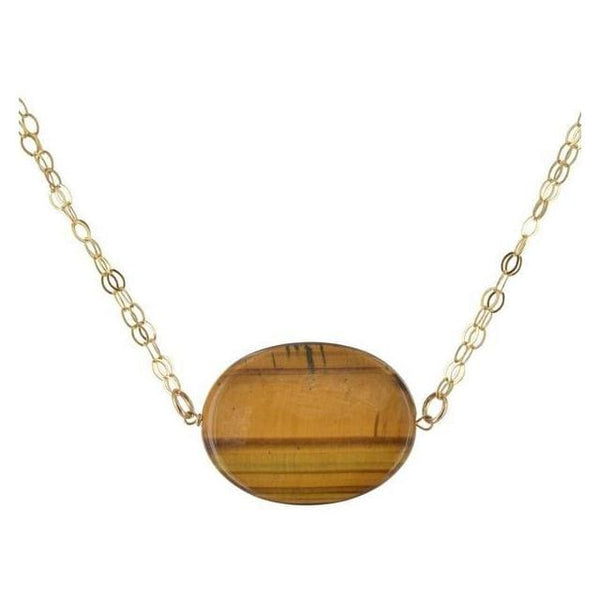 Oval Tigers Eye Gemstone 14 Karat Gold Filled Handcrafted Necklace - Necklaces