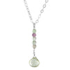 Mint Green Quartz and Fluorite Gemstone 18 inch Sterling Silver Chain Handmade Dainty Drop Style Pendant Necklace