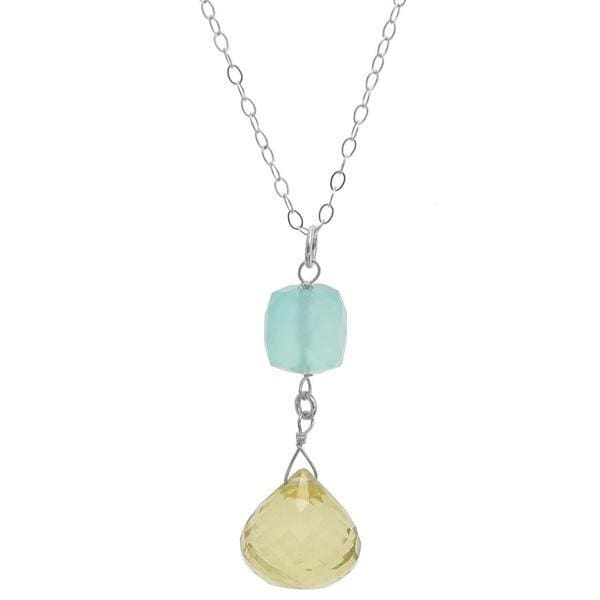 Pastel Gemstones | Baby Blue Yellow Stones | Blue Chalcedony Lemon Quartz Necklace - Necklaces