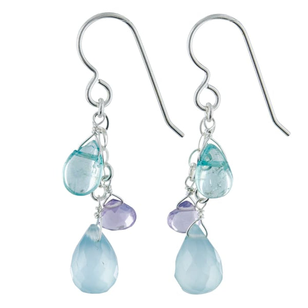 Pastel Multi Gem Earrings. Aqua Chalcedony Apatite Lavender Amethyst Briolette Gemstone Sterling Silver Handmade Dangling Earrings -