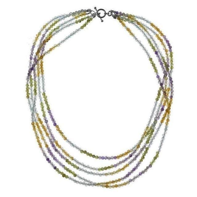 Pastel Multi Natural Gemstone 925 Sterling Silver Handmade Strand Necklace - Necklaces