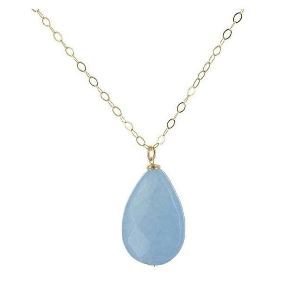 Pear Shaped Aqua Jade Gemstone 18 inch 14 Karat Gold Filled Handcrafted Necklace - Necklaces