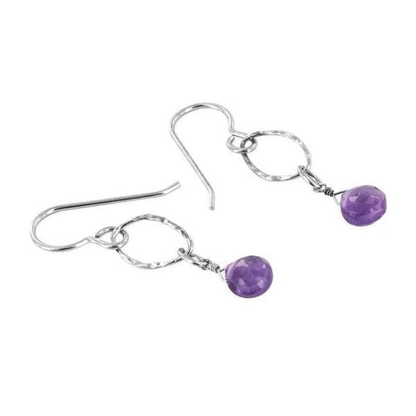 Pear Shaped Lilac Amethyst Gemstone Sterling Silver Handmade Dainty Dangle Drop Earrings - Earrings