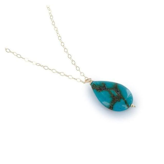Pear Shaped Turquoise Gemstone Pendant 18 14 Karat Gold filled Chain Handcrafted Necklace - Necklaces