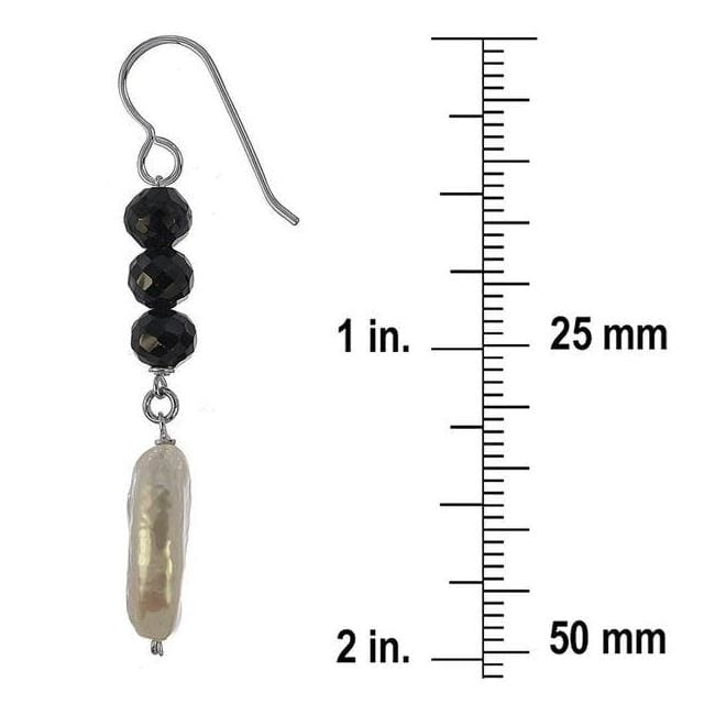 Pearl and Black Onyx Gemstone Silver Earrings - Earrings