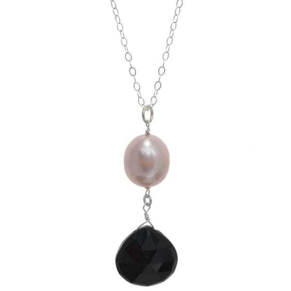 Pearl and Black Onyx Gemstone Sterling Silver Handmade 18 Inch Necklace - Necklaces