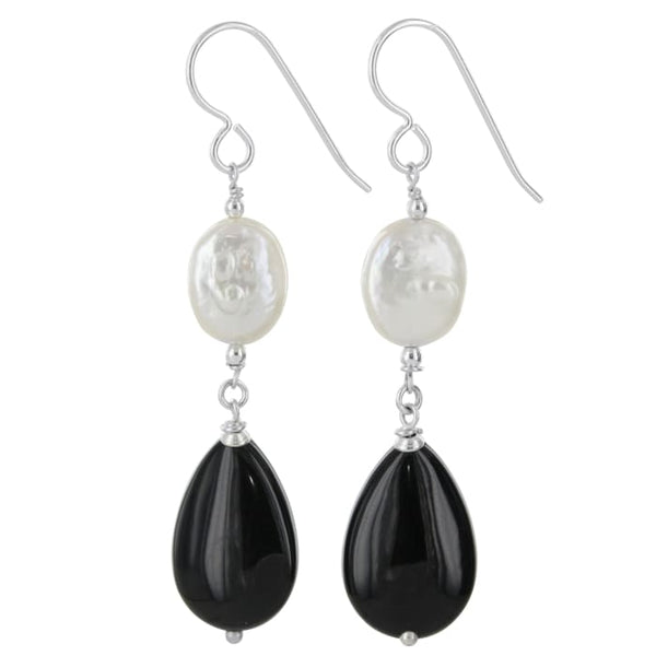 Pearl and Black Onyx Long Silver Earrings - Earrings