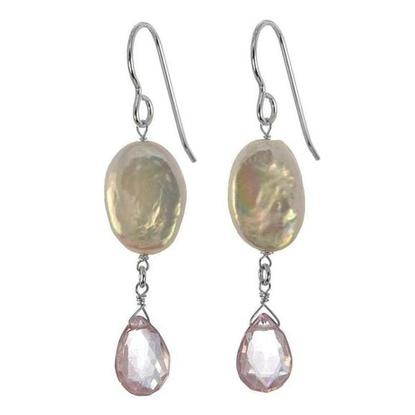Pearl and Pink Quartz Natural Gemstone 925 Sterling Silver Handmade Earrings for Mothers Day - Earrings