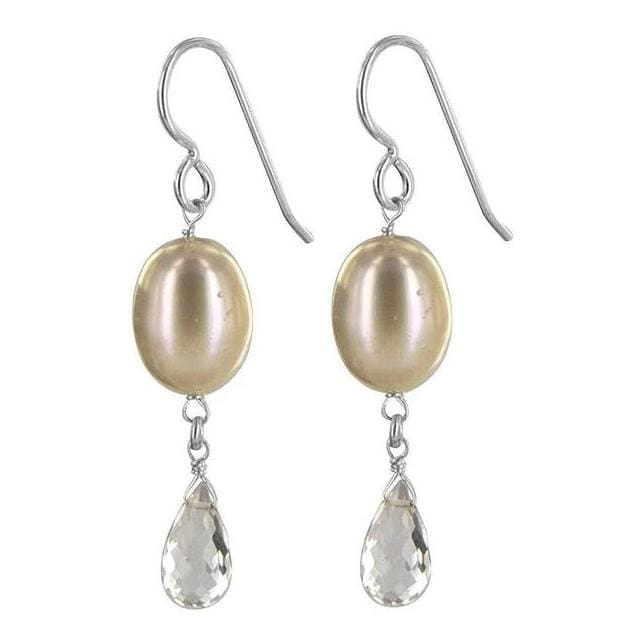 Pearl Bridal Earrings | Pearl Rose Quartz Gemstone Dangle Earrings - Earrings