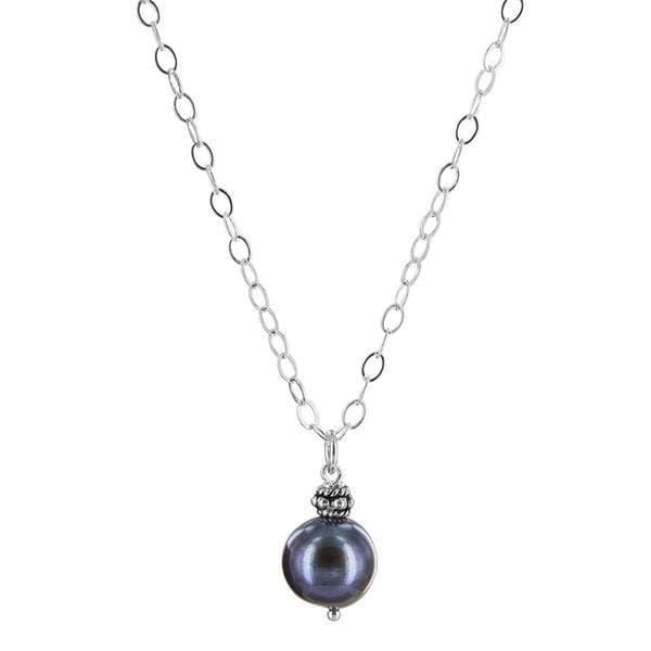 Pearl Pendant | Black Pearl Silver Necklace | June Birthstone - Necklaces