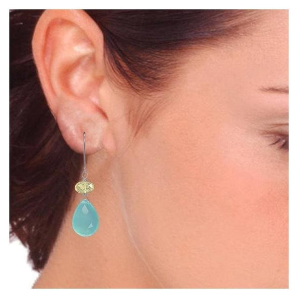 Perfect Spring Earrings with Aqua Chalcedony Lemon Quartz and Sterling Silver - Earrings