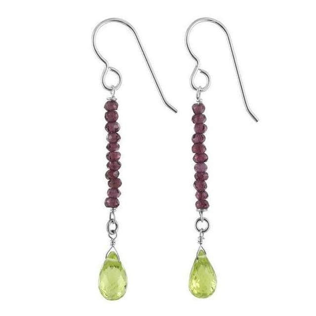 Peridot and Rhodolite Garnet Gemstone Sterling Silver Handcrafted Earrings - Earrings
