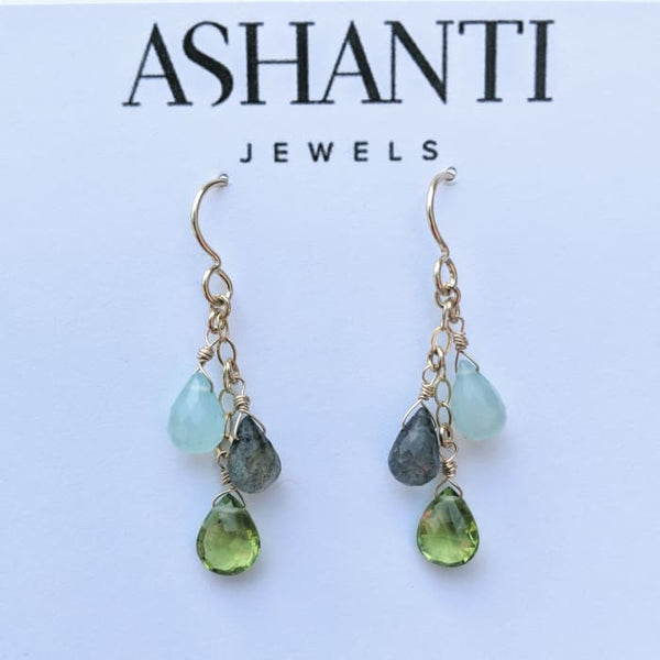 Peridot Blue Chalcedony Labradorite Gold-Filled Earrings - Earrings