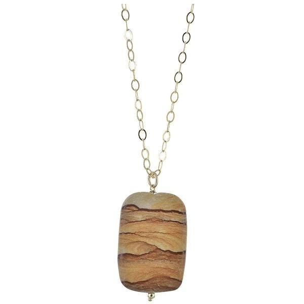 Picture Jasper Gemstone 14K GF Handmade Designer Pendant Necklace - Necklaces