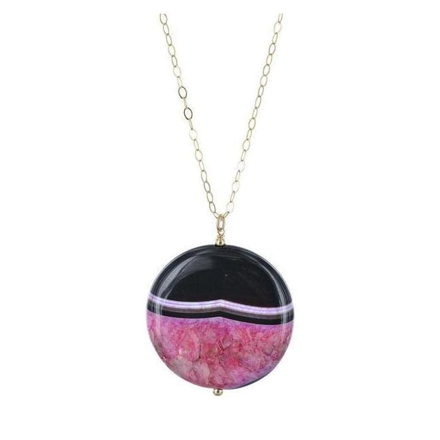 Pink Agate Gemstone 14K Gold Filled Handmade Necklace - Necklaces