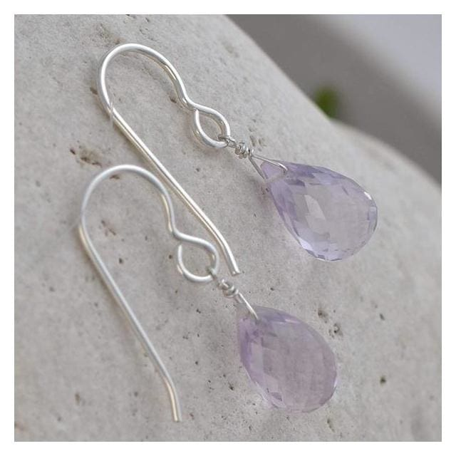 Pink Amethyst Earrings | Dangle Silver Handmade Earrings - Earrings