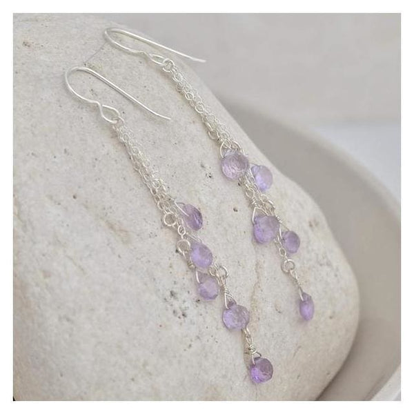 Pink Amethyst Long Silver Earrings - Earrings
