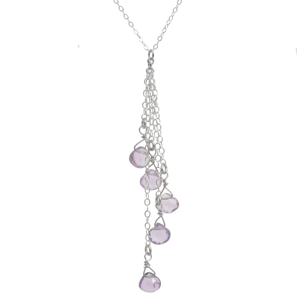 Pink Amethyst Necklace | Rose de France gemstones | Lilac Jewelry - Necklaces