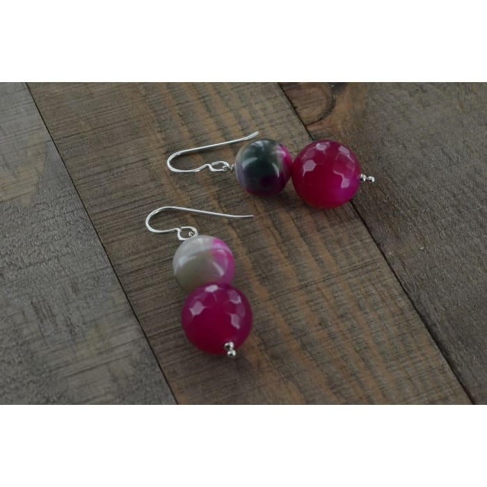 Pink and Green Onyx with Hot Pink Jade Silver Earrings - Earrings