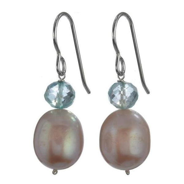 Pink Freshwater Pearls - Blue Quartz Briolette Gemstones - 925 Sterling Silver - Handmade Drop Earrings - Earrings