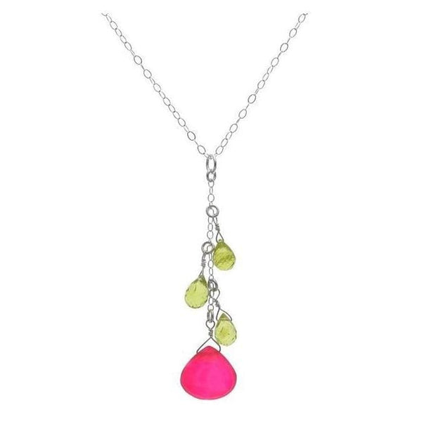 Pink Gemstone Necklace | Chalcedony Peridot Multicolor Pendant - Necklaces