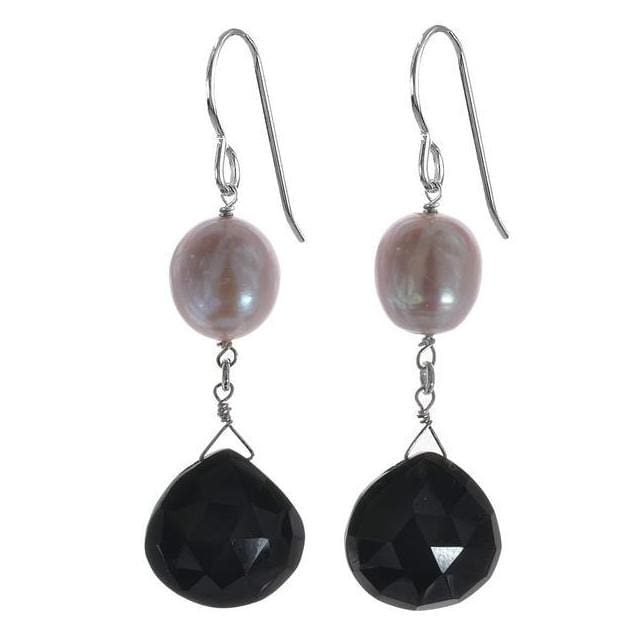 Pink Pearl and Black Onyx Gemstone 925 Sterling Silver Handmade Earrings. Long Dangle Earrings - Earrings