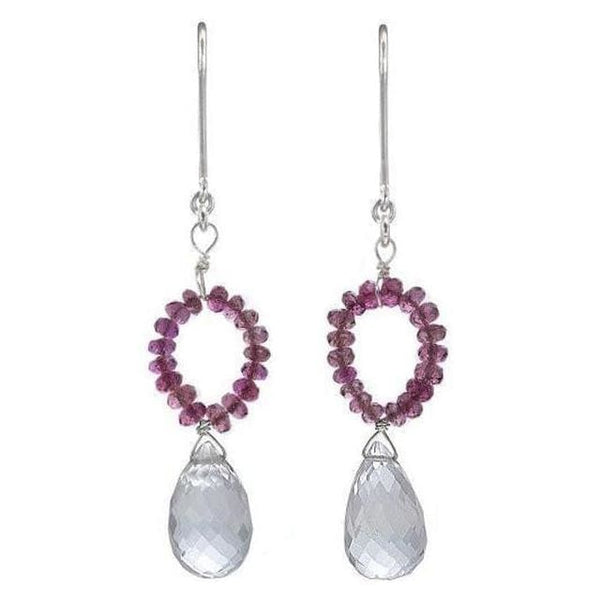 Pink Tourmaline & Natural Rock Crystal Briolette Dangle Earrings - N/a