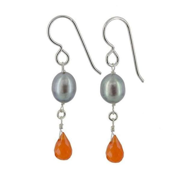 Platinum Pearl and Carnelian Gemstone Sterling Silver Handcrafted Earrings - Earrings