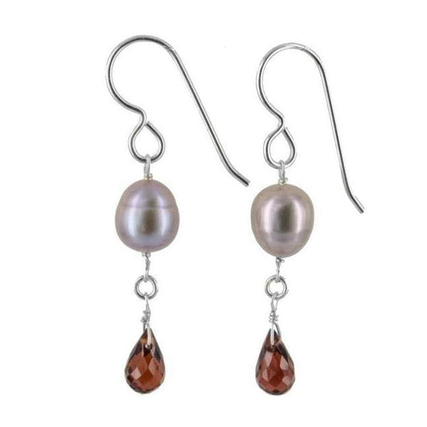 Platinum Pearl and Garnet Gemstone Sterling silver Handcrafted Earrings - Earrings