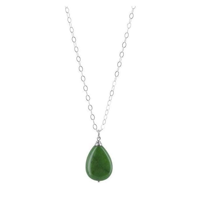 Polished Green Jade Gemstone pendant 18 Sterling Silver Cable Chain Handcrafted Necklace - Necklaces