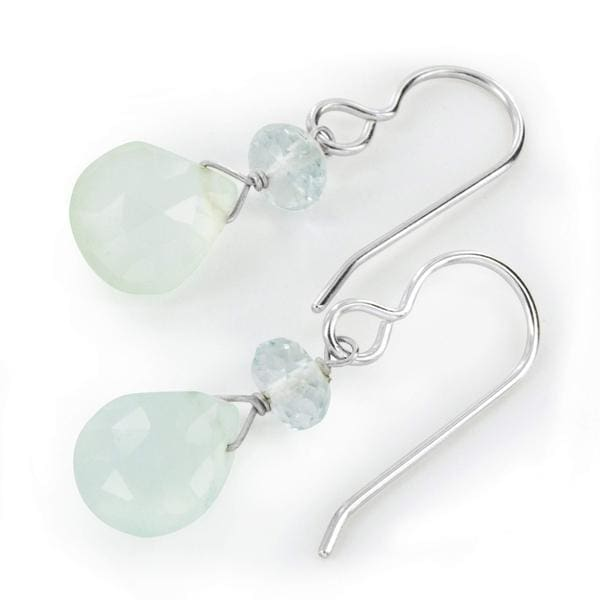 Pretty Little Dangle Earrings Handmade with Aqua Chalcedony and Aquamarine Gemstones with Sterling Silver - Earrings