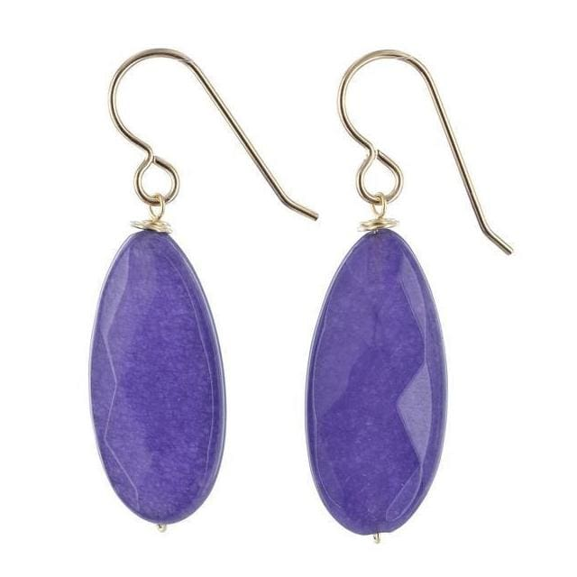 Purple Jade Gemstone 14 Karat Gold Filled Handcrafted Earrings - Earrings