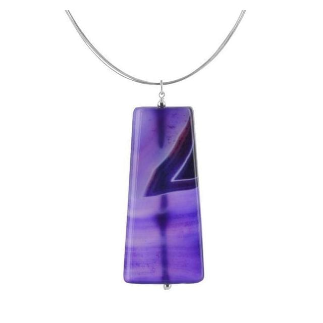 Purple Sardonyx Gemstone Sterling Silver Handcrafted Pendant on 18 inch Stainless Steel Wire Necklace - Necklaces