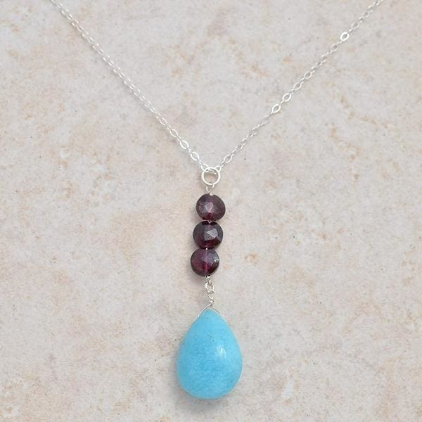Rare Gemstone Necklace | Hemimorphite Garnet Pendant - Necklaces