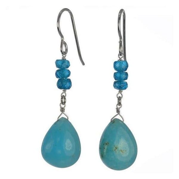 Rare Hemimorphite and Madagascan Neon Apatite Gemstone Sterling Silver Handmade Earrings - Earrings