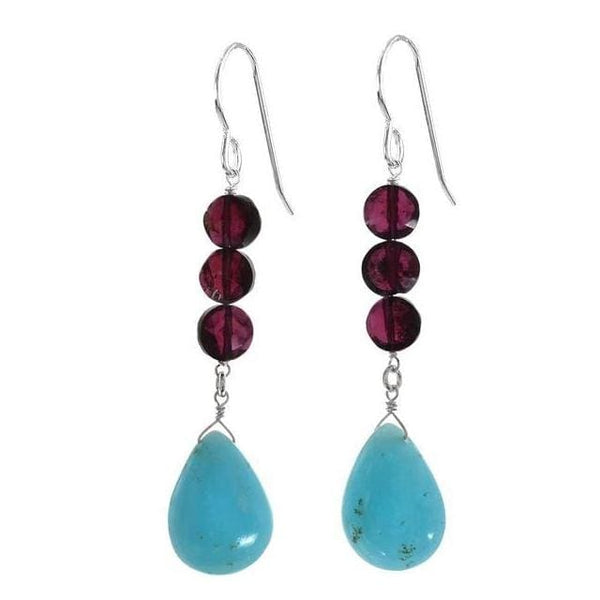 Rare Hemimorphite Briolette and Garnet Natural Gemstone 925 Sterling Handmade Earrings - Earrings