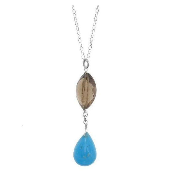 Rare Hemimorphite Briolette and Smokey Quartz Natural Gemstone 925 Sterling Silver Handmade Pendant Necklace - Necklaces