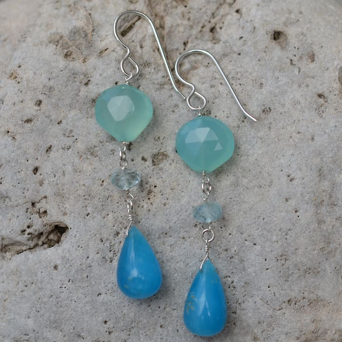 Rare Hemimorphite Briolette Aqua Chalcedony and Aquamarine Natural Gemstone 925 Sterling Silver Handmade Earrings by ASHANTI - Earrings