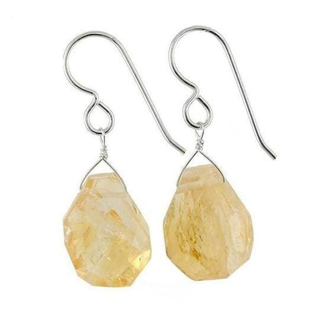 Raw Citrine Earrings with Roughly Faceted Genuine Citrines | Yellow Stones - Earrings