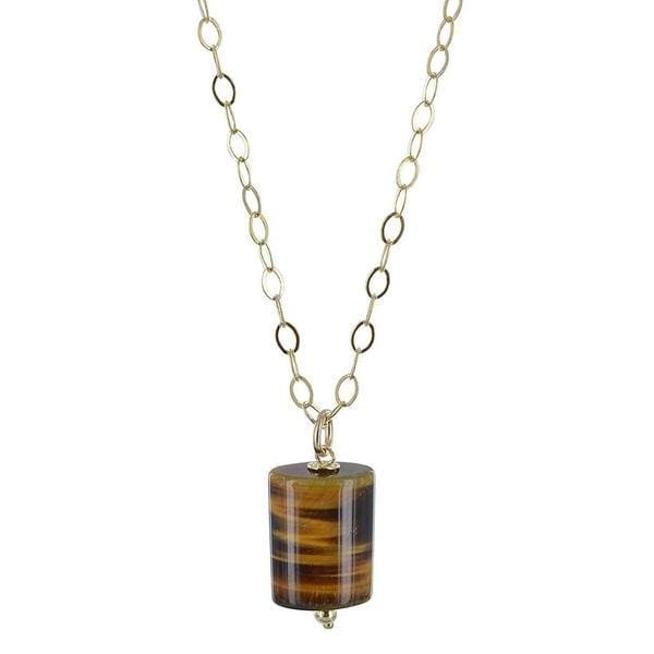 Rectangular Tigers Eye Gemstone 18 inch 14K GF Handmade Pendant Necklace - Necklaces