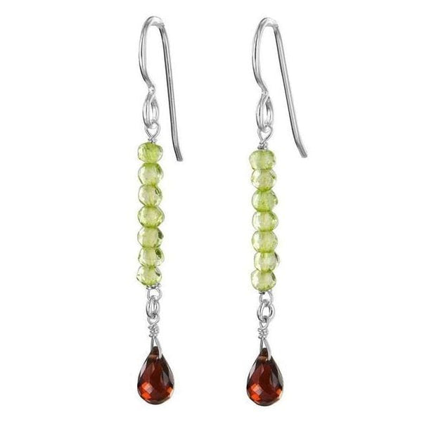 Red and Green Long Earrings Handmade with Garnet and Peridot Quartz Sterling Silver - Earrings