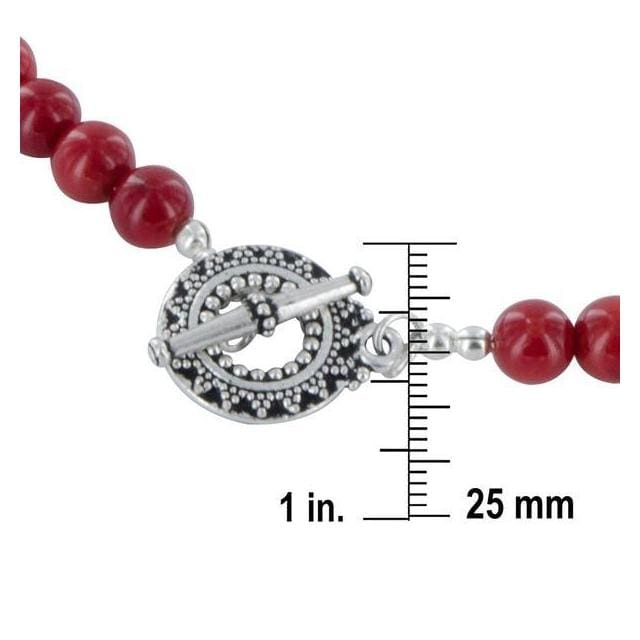 Red Coral Bamboo 925 Sterling Silver Pewter Toggle Clasp Handmade Strand Necklace - Necklaces