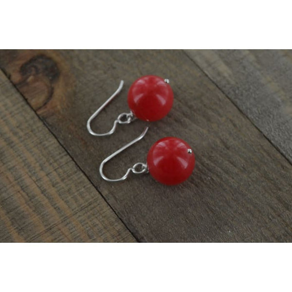 Red Earrings | Christmas Earrings - Red Jade Gemstone Dangle Earrings - Earrings